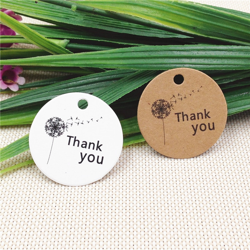 200Pcs/Lot  Handmade Thank You Kraft 3cm Tags For Engagement Holiday Dessert Party Bags Supply Card