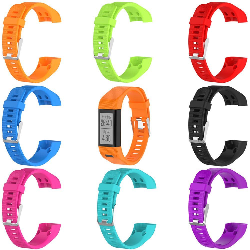 Correas deportivas de silicona de repuesto a rayas con Kits de herramientas para Garmin vivosmart HR + plus Approach X10/X40 Tracker Watch Band 6,29