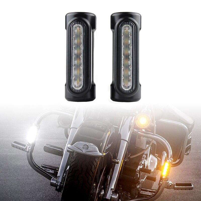 FADUIES negro motocicleta Highway Bar Switchback luz LED de conducción ámbar blanco para la victoria barras de choque para Harley Touring