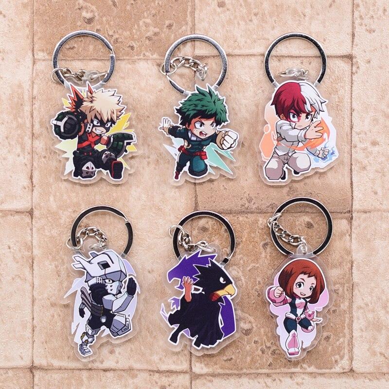 2019 mi héroe llavero Academia Bakugo de doble cara acrílico Shoto colgante de llavero accesorios de anime de dibujos animados anillo de llave