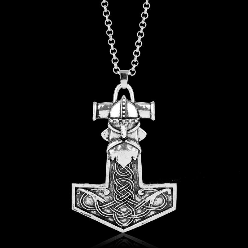 Dongsheng punk nórdico mitologia vikings thor talismans pingente colares vintage thor martelo colares para mulher