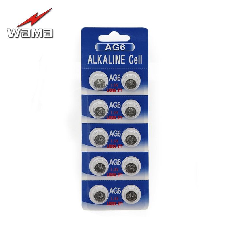 10 unids/pack Wama AG6 baterías alcalinas de 1,5 V baterías de botón de la célula SR920SW SR69 SG6 LR69 171 desechables 920 reloj de la batería,