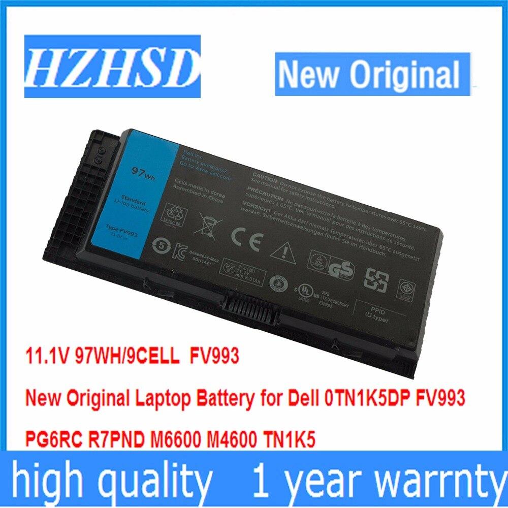 11,1 В 97WH 9cell новый оригинальный аккумулятор для ноутбука Dell 0TN1K5DP FV993 PG6RC R7PND M6600 M4600 TN1K5