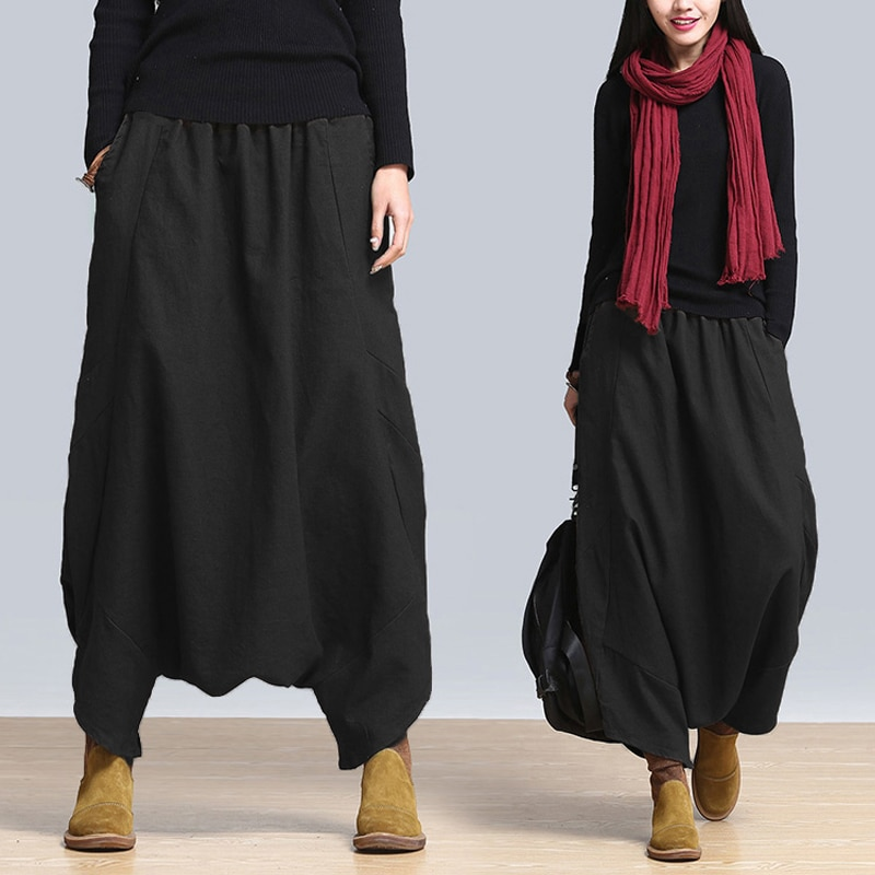 ZANZEA Fashion Womens Solid Harem Pant Elastic High Waist Loose Cross-pants Bloomers Capris Baggy Long Trousers Plus S-3XL 2020