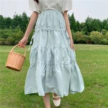2019 Summer New Japanese Fresh Air Teens Girls High Waist Mid-length Student Campus Prairie Chic Skirt