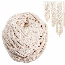 Cordon torsadé en coton en macramé   Cordon torsadé, Beige naturel, artisanal, artisanat artisanal, 6mm * 30m pour décoration intérieure
