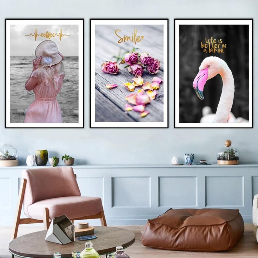 3 peças de Moda Simples Home Decor Nórdico pintura em Tela HD de Impressão Da foto da Flor Para A menina quarto Retrato Da Parede de suspensão Não quadro