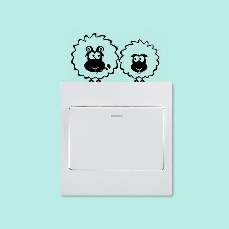 KUCADA oveja pequeña interruptor de animal stikcer decoración de pared del hogar pegatina diy calcomanías arte mural para sala de estar dormitorio WP1063