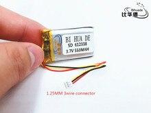 Li-po 1.25mm 3.7 V 612338 602338 lithium-ion polymère batterie 550 mah véhicule voyage enregistreur de données LED haut-parleurs jouets