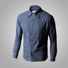 WW2 Reproduction Vintage nous marine Denim Chambray travail chemise hommes Fatigue utilitaire