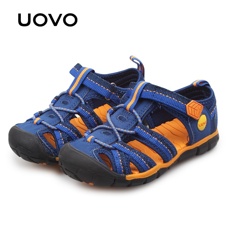 Uavo 2020 sandalias para niños, zapatos de playa para niños, zapatos deportivos azules grandes para niños, calzado de verano de moda, tamaño #31-#35
