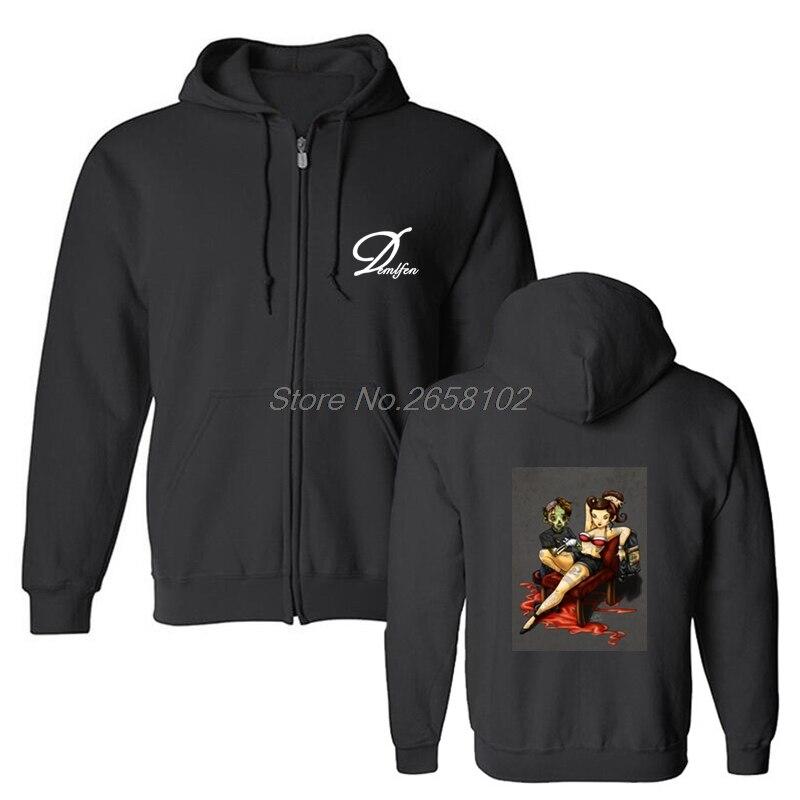 La Zombie y Pin Up Sexy Girl Sudadera con capucha para hombre divertida sudadera para videojugador de algodón para hombre de moda de marca de ropa abrigos de Hip Hop Tops
