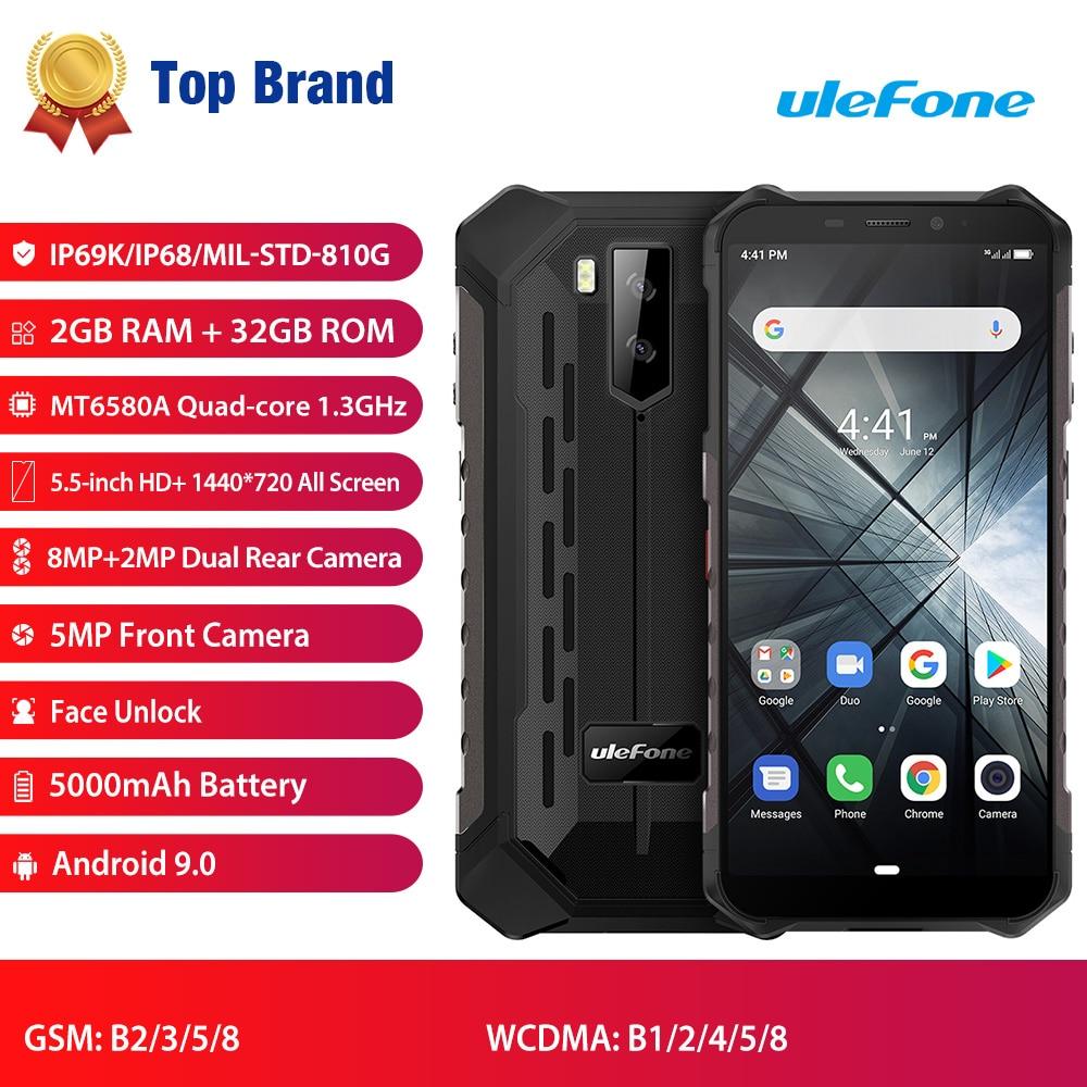 Ulefone-هاتف ذكي مقاوم للماء ، هاتف خلوي Armor X3 IP68 مقاوم للماء ، Android 9.0 ، شاشة 5.5 بوصة ، رباعي النواة ، 2 جيجابايت 32 جيجابايت ، التعرف على الوجه ، بطار...