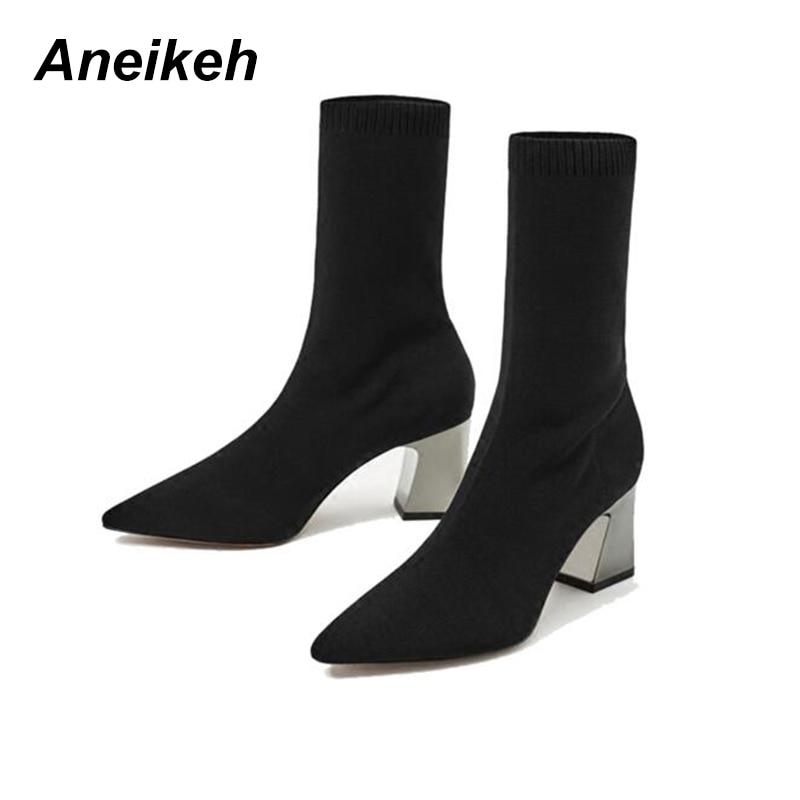 Aneikeh Fashion Ankle Elastische Socke Stiefel Chunky High Heels Stretch Frauen Herbst Sexy Booties Spitz Frauen Pumpen Größe 40 41