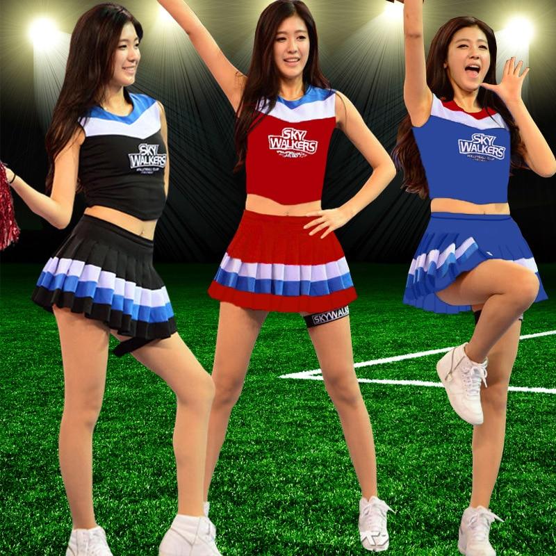 Nova chegada sexy high school menina basquete bebê cheerleader traje esporte cheerleader uniforme superior com saia