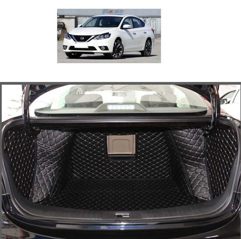 Estera de maletero de coche de cuero de fibra para nissan sylphy 2012 2013 2014 2015 2016 2017 2018 pulsar sentra accesorios de coche