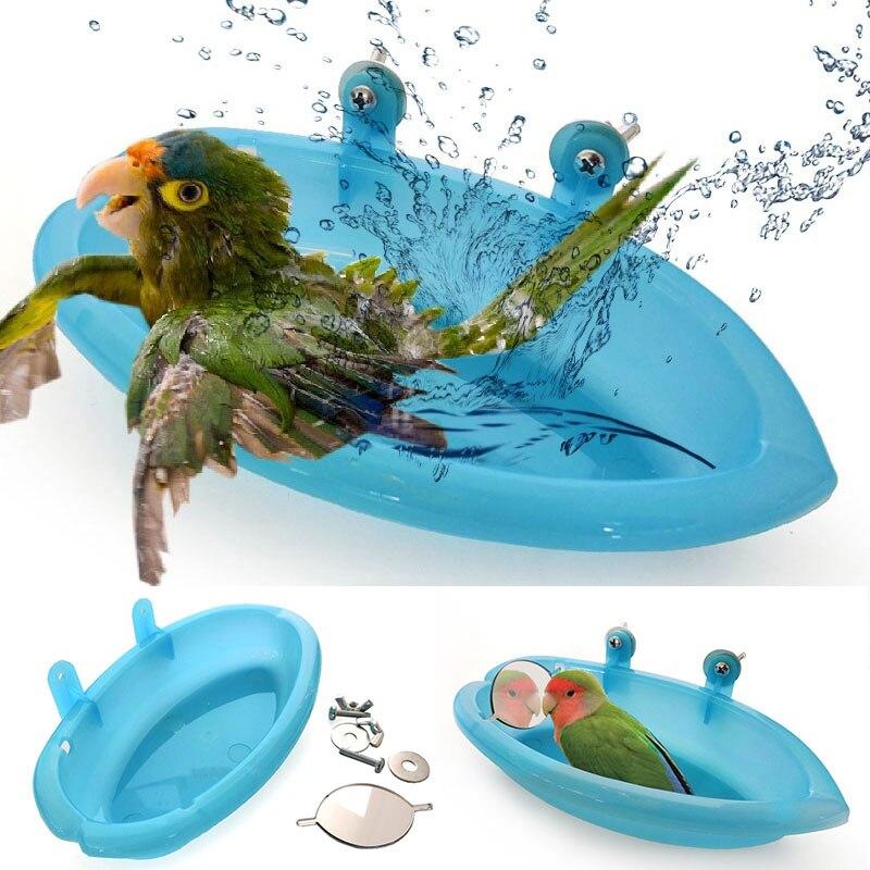 Loro pequeño bañera de aves jaula para mascotas accesorios espejo con pájaro baño ducha caja