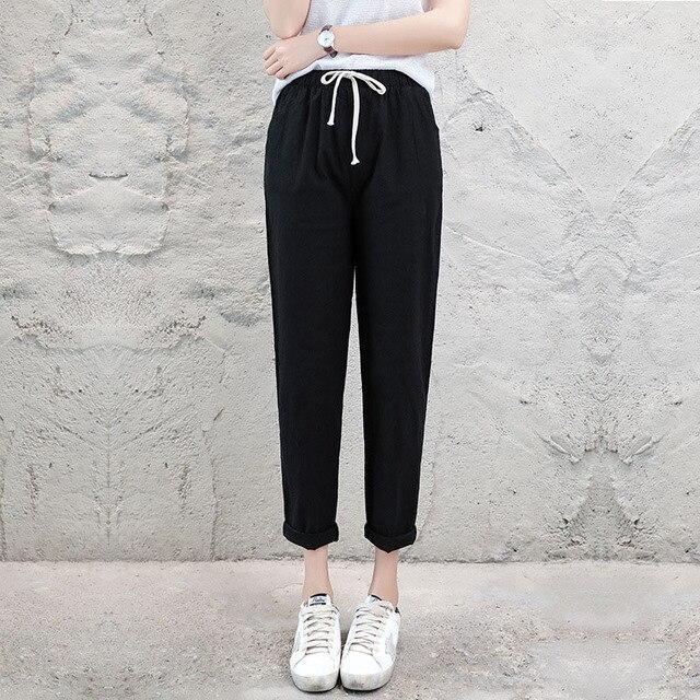 Женские повседневные брюки, однотонные весенне-летние хлопковые и льняные капри длиной до щиколотки, брюки-карандаш, брюки-карандаш, на возраст от 2 до 8 лет, 2019 | Женская одежда | АлиЭкспресс