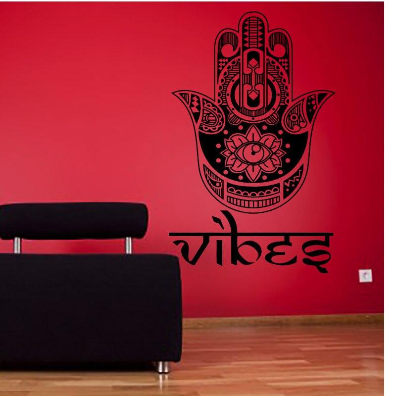 ZOOYOO Pray For Health Symbol Lotus Eye Hamsa pegatina de mano para pared decoración del hogar calcomanías autoadhesivas extraíbles de vinilo