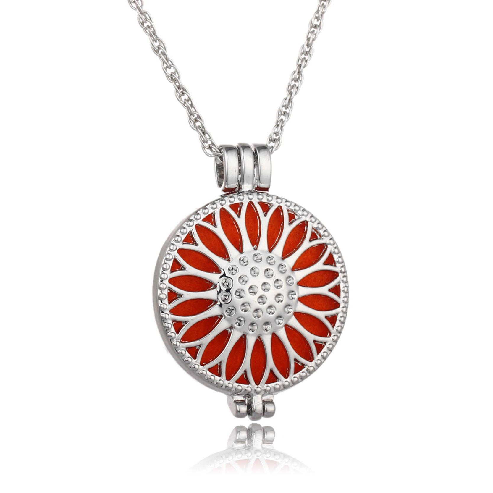 Joyería Vintage bañada en plata con patrón de girasol difusor de aceite aromaterapia colgante collar para mujer (5 almohadillas)