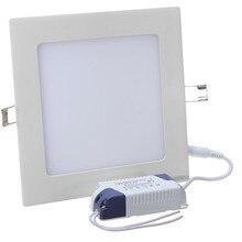 Panneau LED carré Ultra mince 3 W 4 W 6 W 9 W 12 W 15 W 25 W plafonnier encastré avec conducteur AC85-265V LED intérieur
