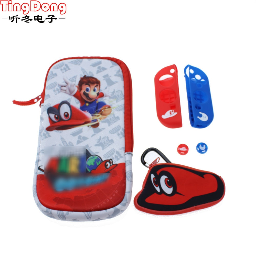 ns travel carrying case 19 game shell card holders pouch bag for nintend switch console and accessories joycon case thumb grips For Nintend Switch NS Console Carrying Storage Protective bag cover housing case shell Thumb cap + Silicone Case for Joy-Con