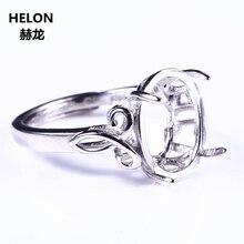 Bague de fiançailles en argent Sterling 925 couleur or blanc 10x12mm Cabochon ovale Semi monture bijoux fins