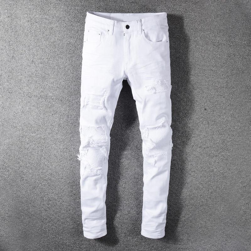 Fashion Streetwear Men Jeans White Color Slim Fit Destroyed Ripped Jeans Men Patchwork Designer Elastic Hip Hop Jeans Pants