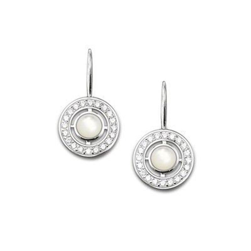 Pendientes redondos de gota de ojo de gato de circón blanco, pendientes de plata de Ley 925 de moda estilo Thomas Glam joyería Ts Soul regalo para mujeres