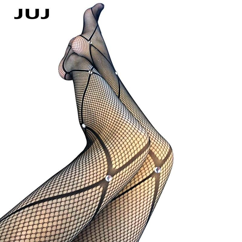 Женские ажурные колготки, черные колготки большого размера с узорами в сетку, блестящие колготки со стразами, лето 2019