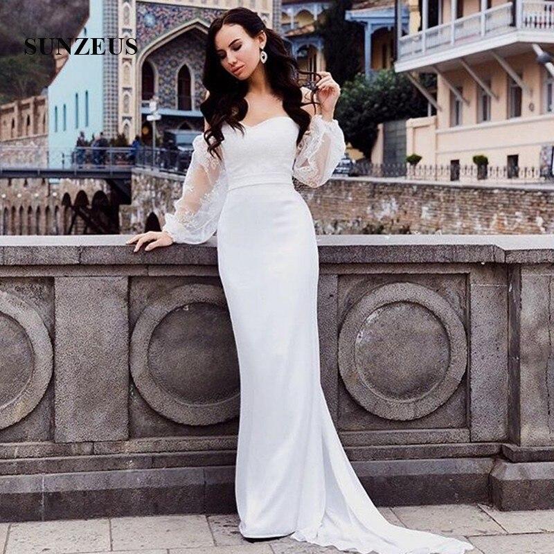 Vestidos de novia de manga abombada Encaje Vintage, vestido de novia de gasa blanca con escote corazón, para playa, SW25
