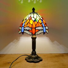 Woerfu 20 Cm Tiffany Tafellamp E27 Dragonfly Stijl Hars Base Lamp Creatieve Mode Retro Tafellamp