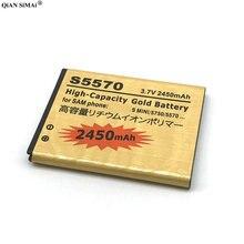 Nouvelle batterie en or EB494353VU 2450 mAh pour téléphone Samsung Galaxy S mini S5330 S5232 C6712 S5750 S5570 i559