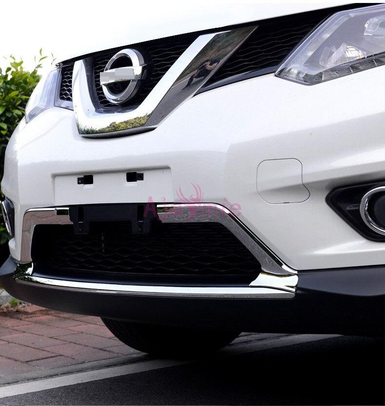 Embellecedor de rejilla delantera cromado para coche, Kit de protección de parachoques, Panel 2014 2015 2016 2017 para Nissan Xtrail x-trail Rogue T32, accesorios