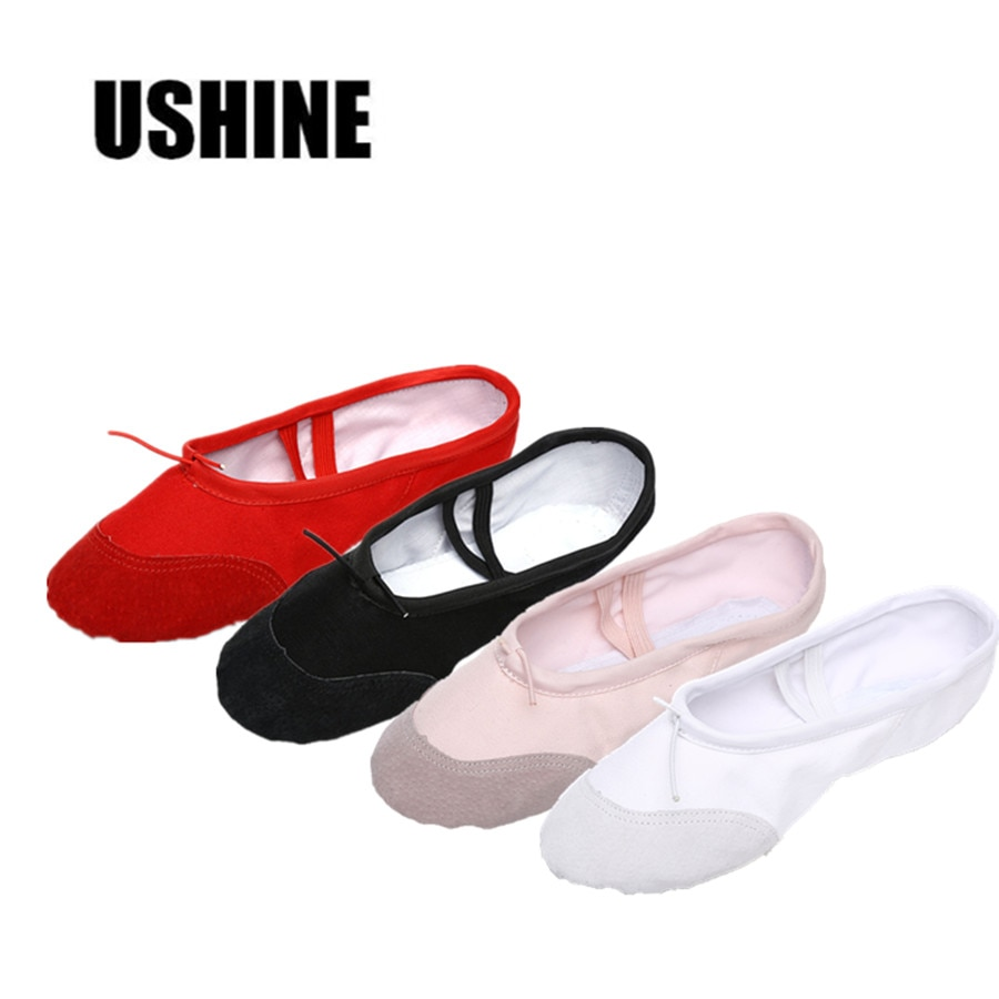 USHINE Yoga Gym flat slippers White Pink White Black Canvas Ballet Dance Shoes For Girls Children Wo