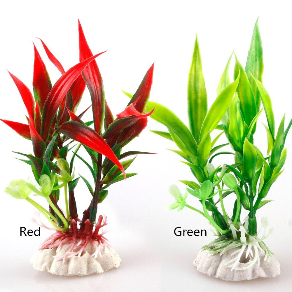 Gran oferta pecera nueva decoración de paisaje planta de agua planta de plástico hierba para acuario decorativo #1