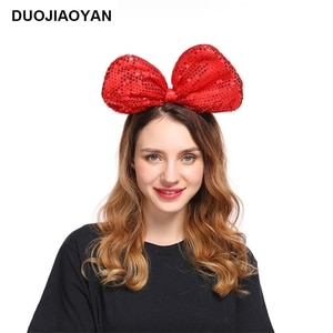 DUOJIAOYAN Sequins Bow Hairband Fabric Bowknot Headband Women Girls Colorful Hair Accessories Birthday Party Headwear