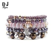 BOJIU 5 pièces/ensemble à la mode multicouche femmes Bracelets Violet gris cristal bleu émail Violet Quartz Agates cuivre Bracelet BCSET244