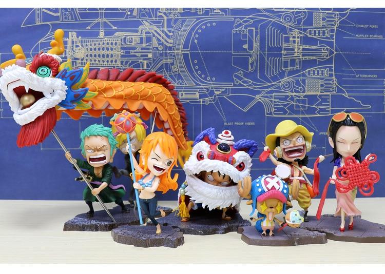Anime One Piece Luffy Chinese New Year Lion Custome Zoro Sanji Nami dragon Robin Usopp Chopper lion dance Cute Figure Model Toys