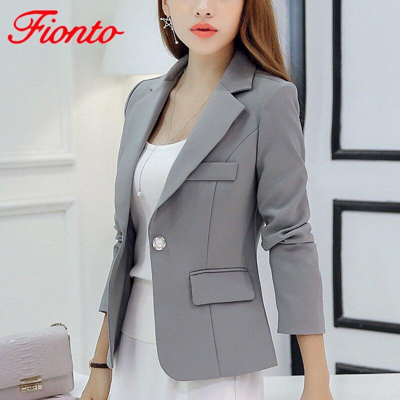 Americana de una sola botonadura Formal para mujer moda 2019 Slim Fit Color sólido de manga larga abrigo femenino otoño Casual gris Blazers AN1135