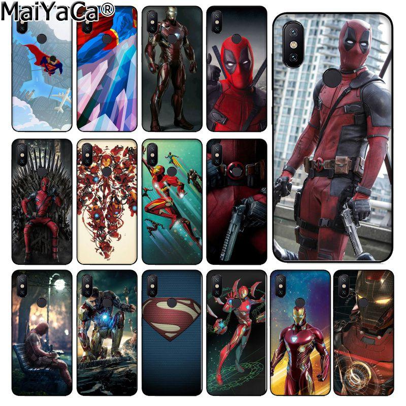 MaiYaCa SuperMan Iron Man Deadpool hero Black TPU Phone Case Cover for Xiaomi Redmi 5 5Plus Note4 4X Note5 6A Mi 6 Mix2 Mix2S