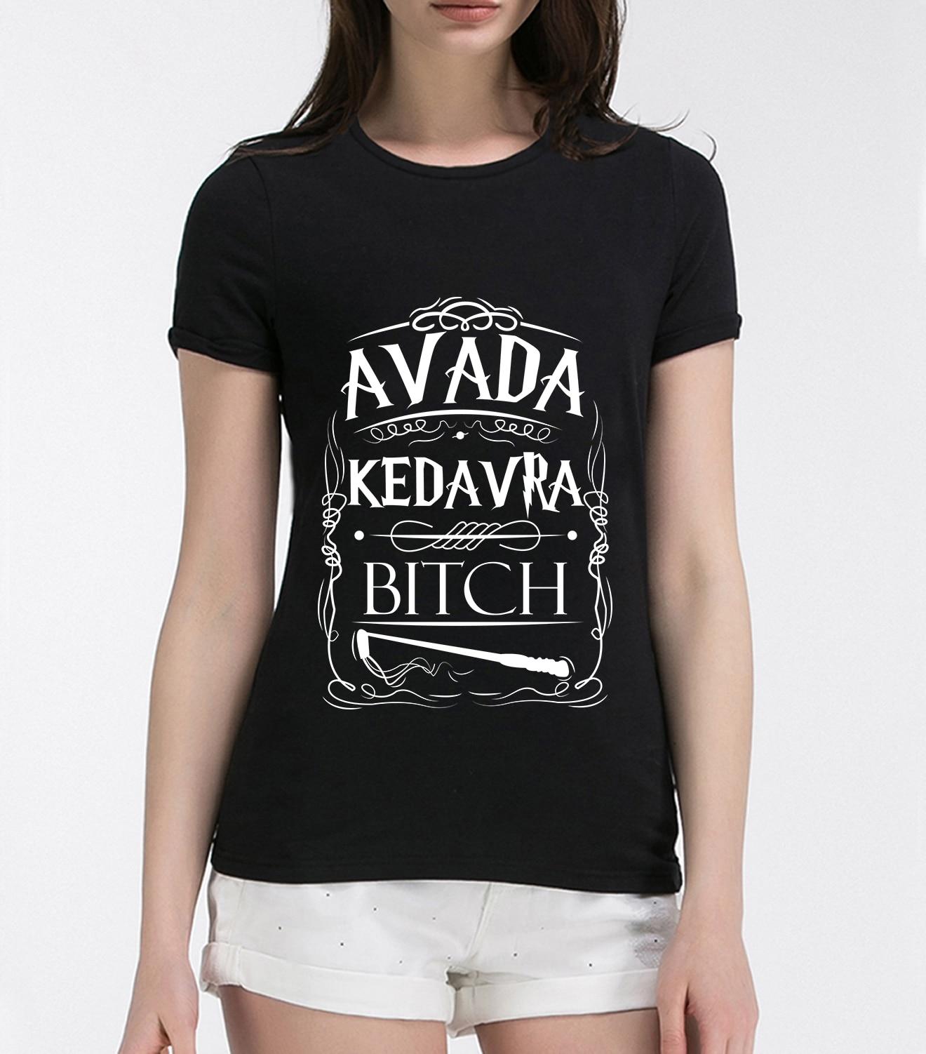Camiseta Kedavra con letras impresas para mujer, camiseta a la moda de verano 2019 para mujer, camisetas divertidas de marca harajuku kawaii