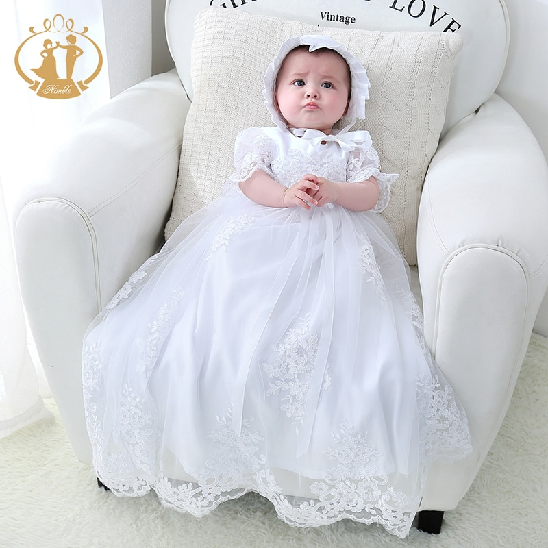 Nimble baby girl clothes Newborn dress Baby Christening Gowns White Baby Girl clothes first communion clothes baby dress vestido