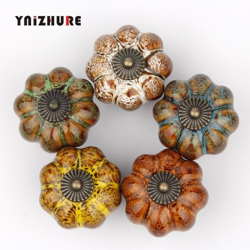 1 Uds calabaza perillas de cerámica perillas vestidor perilla cajón/manija del Gabinete tira/colorido pomo para alacena de cocina de Hardware de muebles