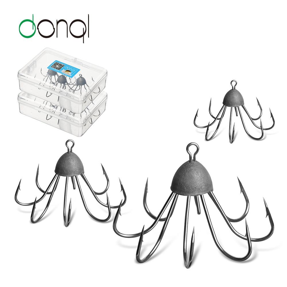 DONQL 3 teile/los Tintenfisch Octopus Anker Angelhaken High Carbon Stahl Achteckige Haken Angeln Getriebe Werkzeug Zubehör jig Regenschirm