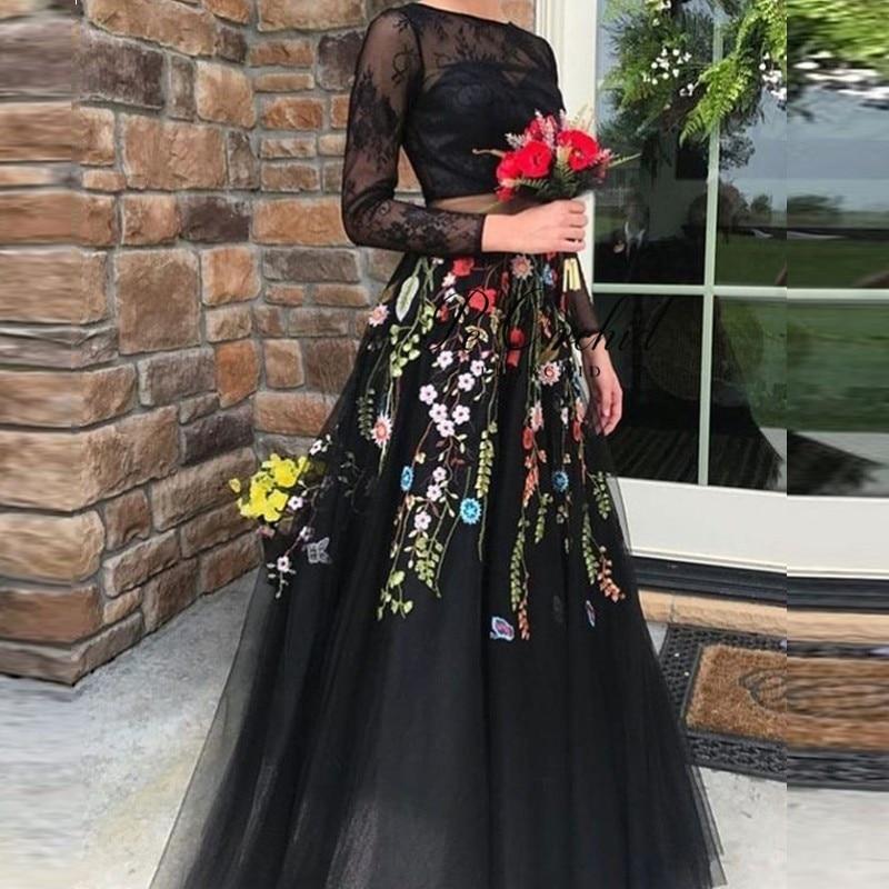 Peorchidée Floral 2 pièce robe de bal dentelle 2019 noir manches longues robes Para Gala Tulle a-ligne haut court broderie robe de soirée