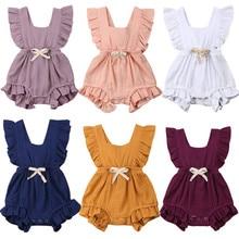 Neugeborenen Baby Mädchen Rüsche Feste Farbe Strampler Backcross Overall Outfits Sunsuit Baby Kleidung Baby Strampler mit Bowknot Kleidung