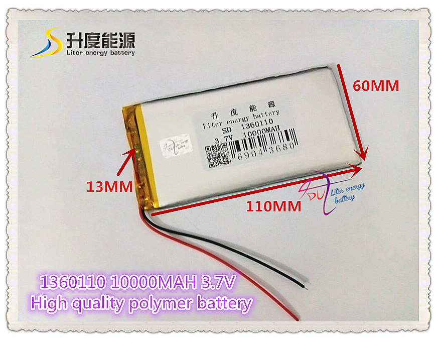 3,7 V 10000 mAH SD 1360110 (batería de iones de litio de polímero/celda de Clase A) batería Li-ion para tablet pc, e-book, altavoz