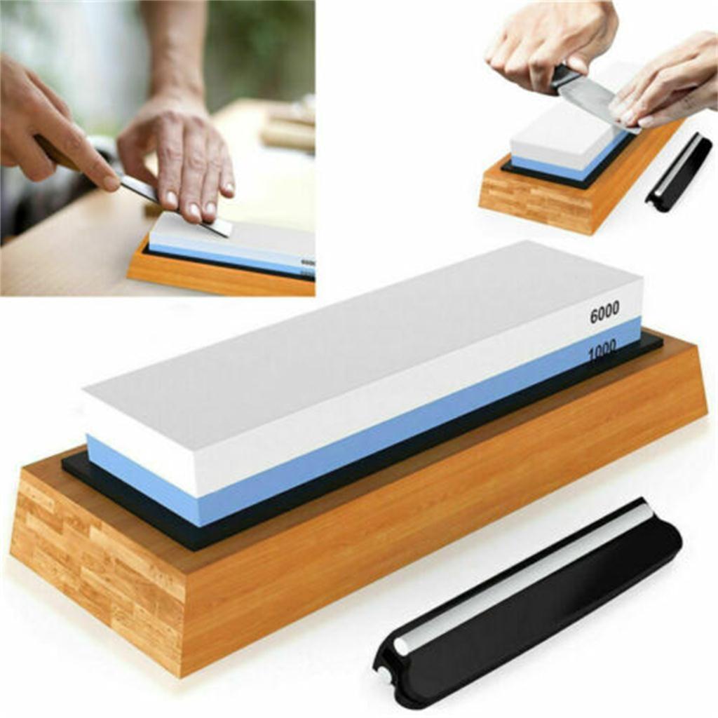 Afilador de cuchillos ISHOWTIENDA resistente a la corrosión, afilador de piedra 1000/6000 de grano, afilador de piedra de cocina, afilador de piedra mojado de dos lados, gran oferta