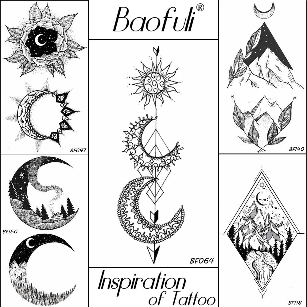 Women Temporary Sun Crescent Moon Arrow Tattoo Cool Black Waterproof Fake Tattoo  DIY Arms Sleeve Body Art Henna Tatoos Stickers